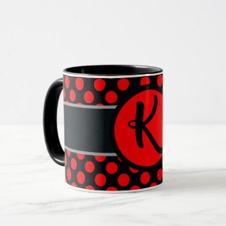 Monogram lady Polka dot - Custom  background Mug