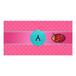 Monogram ladybug pink polka dots photo greeting card