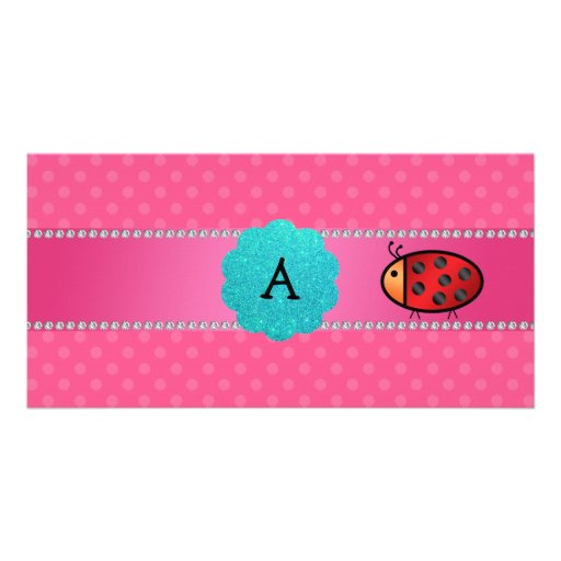 Monogram ladybug pink polka dots photo card