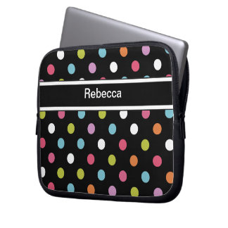 Monogram Laptop Case Polka Dots Computer Sleeve