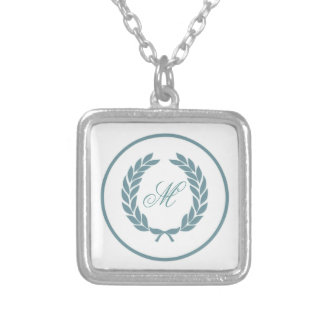 Monogram Laurel Leaf Wreath Silver Plated Necklace
