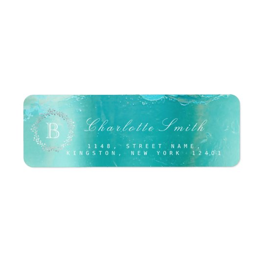 Monogram  Laurel Wreath Ocean Blue Return Address