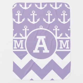 Monogram Lavender Chevron Anchors Stroller Blanket