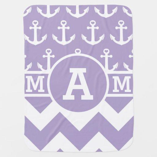 Monogram Lavender Chevron Anchors Baby Blankets