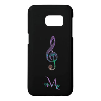 Monogram Lavender Mint Green Music Clef Samsung Galaxy S7 Case