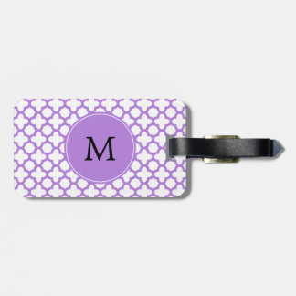 Monogram Lavender Quatrefoil Pattern Luggage Tag