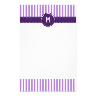 Monogram Lavender Striped Pattern Stationery Design