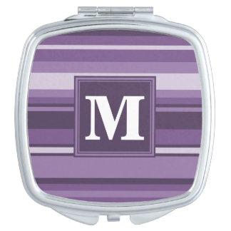 Monogram Lavender stripes Travel Mirror