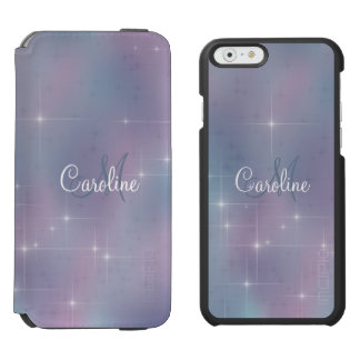 Monogram Lavender Teal Mauve Nebula Sparkle Incipio Watson™ iPhone 6 Wallet Case
