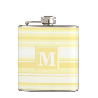 Monogram lemon yellow stripes flask
