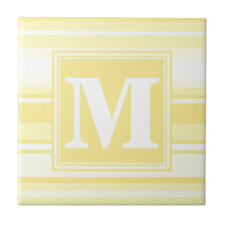 Monogram lemon yellow stripes tile