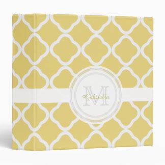 Monogram Lemony Yellow and White Quatrefoil Binder