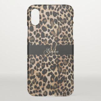Monogram Leopard Animal Print iPhone X Case
