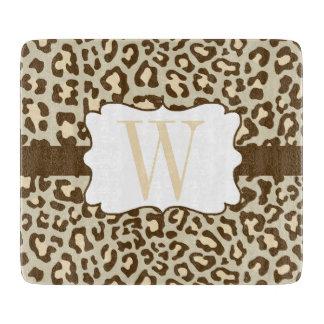 Monogram Leopard Brown Tan Peach Cutting Board