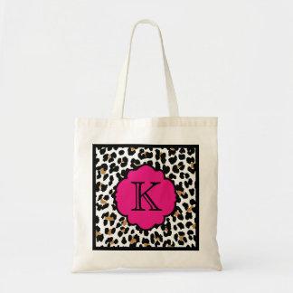 Monogram Leopard Print Pink Accent Custom Tote Bag