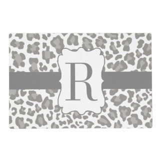 Monogram Leopard Print White and Gray Place Mat Laminated Placemat
