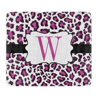 Monogram Leopard Purple Black White Cutting Board