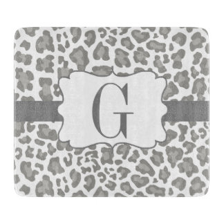 Monogram Leopard White and Gray Cutting Board
