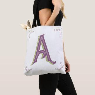 Monogram Letter A, Elegant Vintage Style Tote Bag