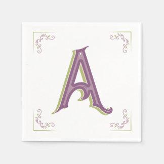 Monogram Letter A Napkins Paper Napkins