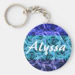 Monogram Letter A Tri Colour Blue Roses Keychain
