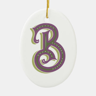 Monogram Letter B, Elegant Vintage Style Ceramic Ornament