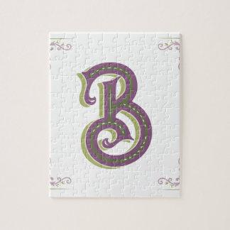 Monogram Letter B, Elegant Vintage Style Jigsaw Puzzle