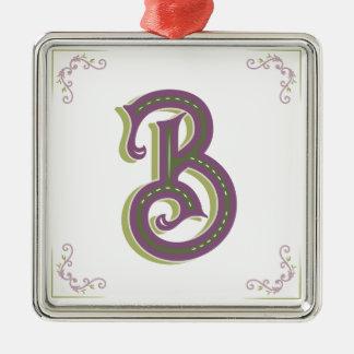 Monogram Letter B, Elegant Vintage Style Metal Ornament