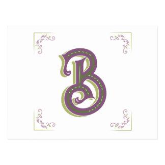 Monogram Letter B, Elegant Vintage Style Postcard