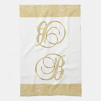 Monogram Letter B Gold Glitter White Color Kitchen Kitchen Towel