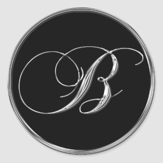 Monogram Letter B Sliver On Black Wedding Seal Round Sticker