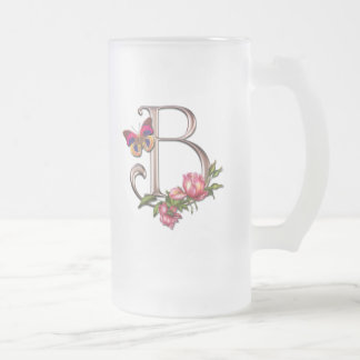 MONOGRAM LETTER B WITH ROSES AND BUTTERFLY FROSTED GLASS BEER MUG