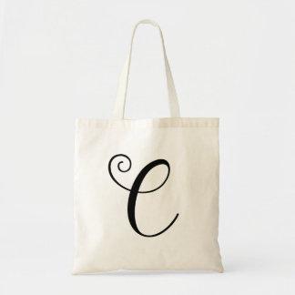 Monogram Letter C Budget Tote-Canvas Tote Bag