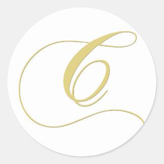 Monogram Letter C Golden Single Classic Round Sticker