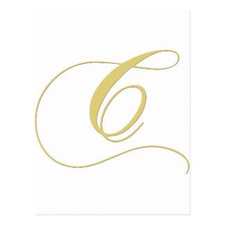 Monogram Letter C Golden Single Postcard
