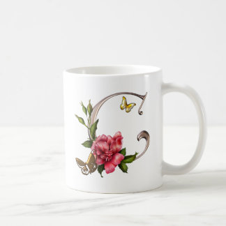 MONOGRAM LETTER C WITH ROSE AND BUTTERFLIES COFFEE MUG