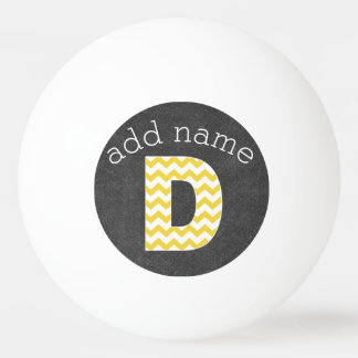 Monogram Letter D - Chalkboard and Yellow Chevrons Ping Pong Ball