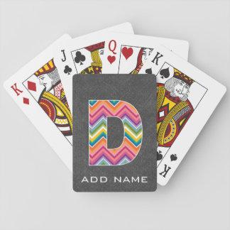 Monogram Letter D - Chalkboard Chevron Pattern Playing Cards