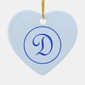 Monogram letter D heart ornament / pendant