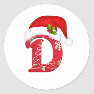 Monogram letter D, Santa hat Christmas  Sticker