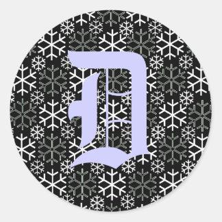 monogram Letter D Snowflakes Sticker
