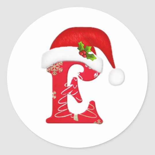 Monogram letter E, Santa hat Christmas  Sticker