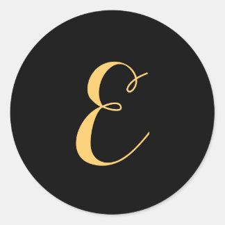 Monogram letter E script Gold-Color Classic Round Sticker