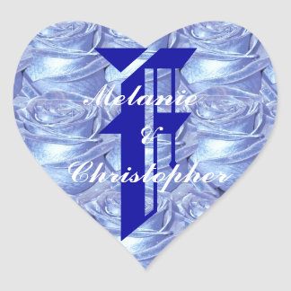Monogram Letter F Blue Roses Sticker