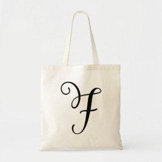 Monogram Letter F Budget Tote-Canvas Tote Bag