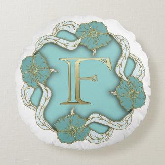 Monogram Letter F Round Pillow