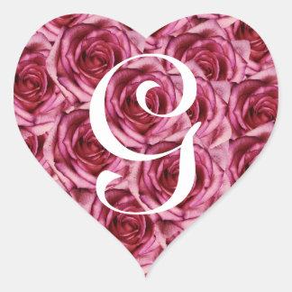 Monogram Letter G Pink Roses Sticker