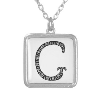 Monogram Letter G Silver Plated Necklace