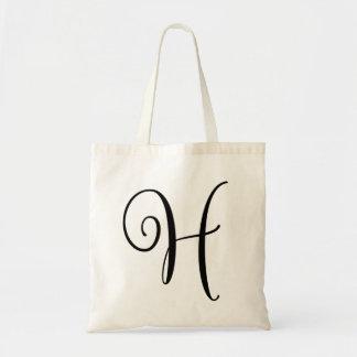Monogram Letter H Budget Tote-Canvas Tote Bag