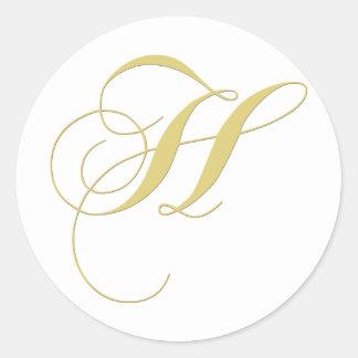 Monogram Letter H Golden Single Classic Round Sticker
